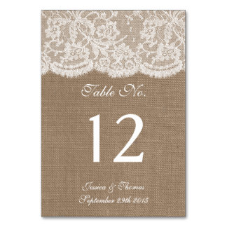 The Burlap & Lace Collection Table Number Cards