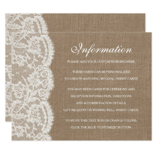 The Burlap & Lace Wedding Collection Detail Cards at Zazzle