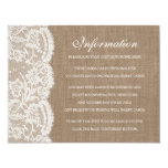"The Burlap & Lace Wedding Collection Detail Cards 4.25"" X 5.5"" Invitation Card"