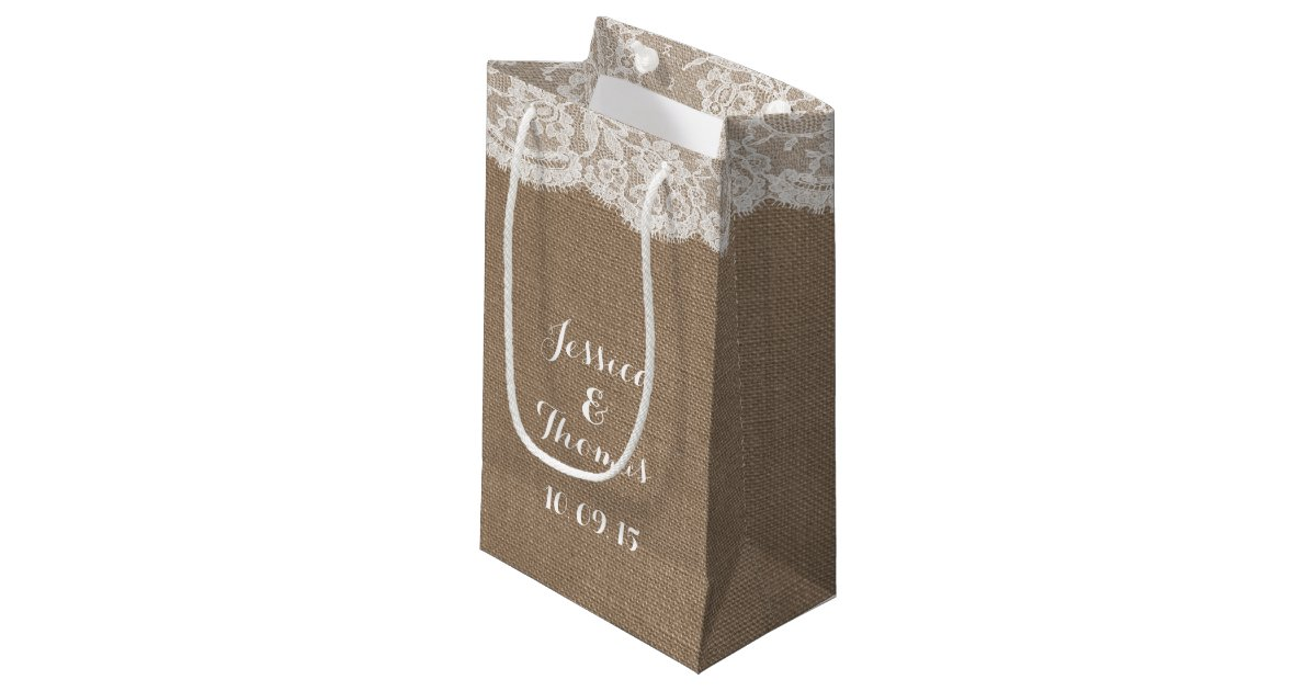 Zazzle Wedding Gift Bags : The Burlap & Lace Wedding Collection Gift Bags Zazzle