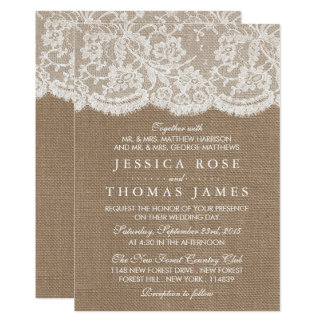 the burlap lace wedding collection invitations - Burlap Wedding Invitations