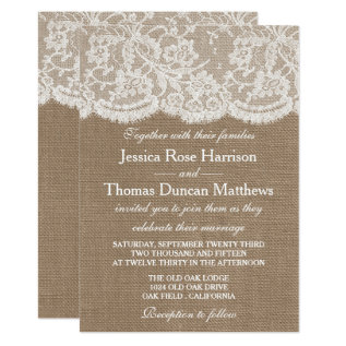 The Burlap & Lace Wedding Collection Invitations at Zazzle