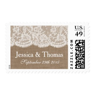 The Burlap & Lace Wedding Collection Postage Stamps