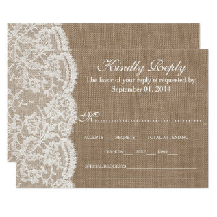 The Burlap & Lace Wedding Collection Rsvp Cards at Zazzle