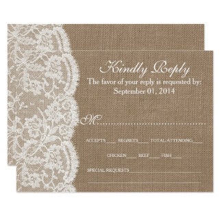 burlap and lace wedding invitations  announcements  zazzle, Wedding invitations