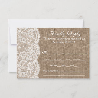 The Burlap & Lace Wedding Collection RSVP Cards