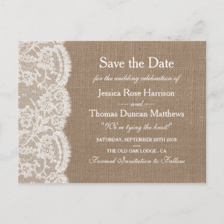 The Burlap & Lace Wedding Collection Save The Date Announcement Postcard