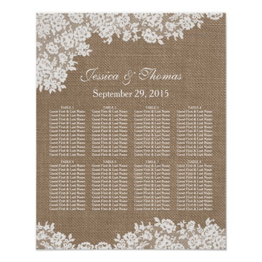 The burlap lace wedding collection seating chart for Bridal shower seating chart template