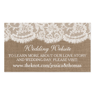 The Burlap & Lace Wedding Collection Website Cards Business Card