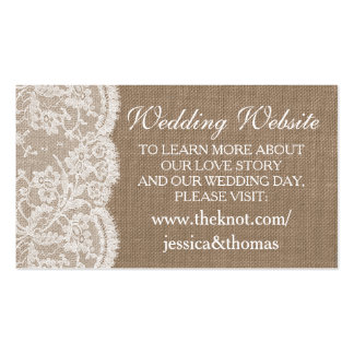 The Burlap & Lace Wedding Collection Website Cards Double-Sided Standard Business Cards (Pack Of 100)