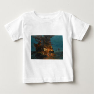 The burning of a Turkish frigate by Konstantinos Baby T-Shirt