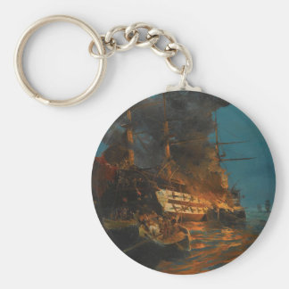 The burning of a Turkish frigate by Konstantinos Basic Round Button Keychain