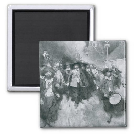 The Burning of Jamestown 2 Inch Square Magnet