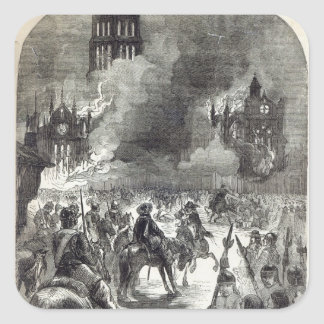 The burning of Old St. Paul's, 1666 Square Sticker