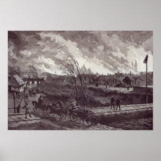 The burning of Stry, near Lemberg Poster