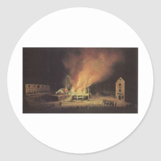 The Burning of the Harbor Master's House Classic Round Sticker