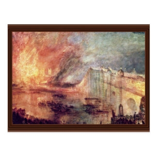 The Burning Of The Houses Of Parliament By Turner Postcard