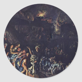 The Burning Of Troy By Adam Elsheimer Classic Round Sticker