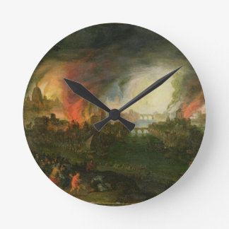 The Burning of Troy (oil on copper) Round Wallclocks