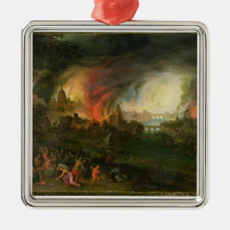 The Burning of Troy (oil on copper) Metal Ornament
