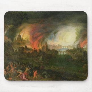 The Burning of Troy (oil on copper) Mouse Pad