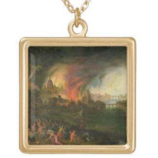 The Burning of Troy (oil on copper) Necklaces