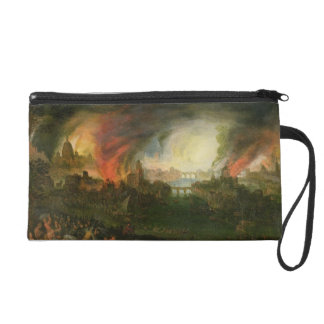 The Burning of Troy (oil on copper) Wristlet Purse