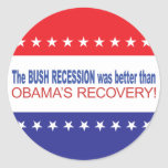 The Bush Recession was better than Obama's Recover Sticker