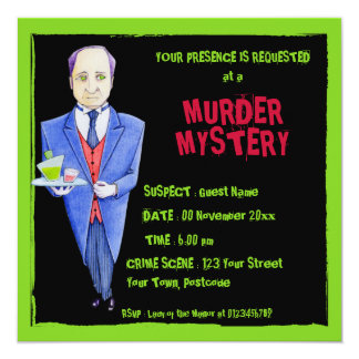The Butler 2 black Murder Mystery Invitation