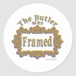 The Butler Was Framed! Round Stickers