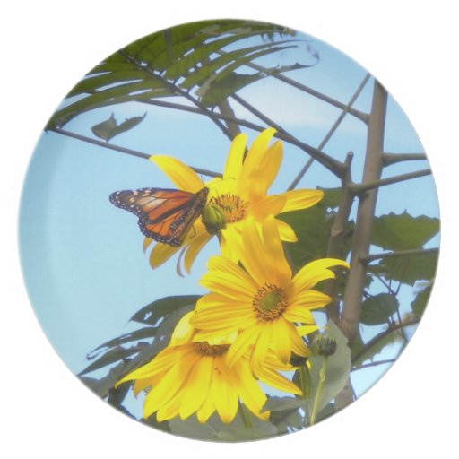The Butterfly and the Sunflower Plate