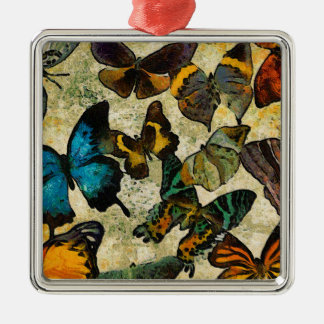 The Butterfly Collection Silver-Colored Square Ornament