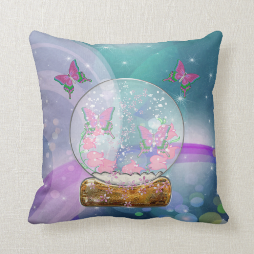The Butterfly Globe Throw Pillows