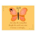 The Butterfly Quote Orange Postcard