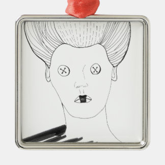 The Button Queen Metal Ornament