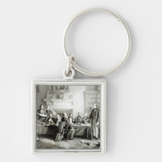 The Cabinet of Lord Derby of 1867, 1868 Silver-Colored Square Keychain