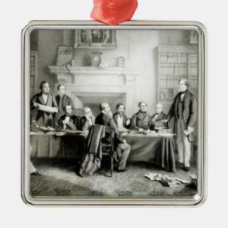 The Cabinet of Lord Derby of 1867, 1868 Square Metal Christmas Ornament