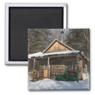 The cabins at the AMC's Little Lyford Pond 2 Inch Square Magnet