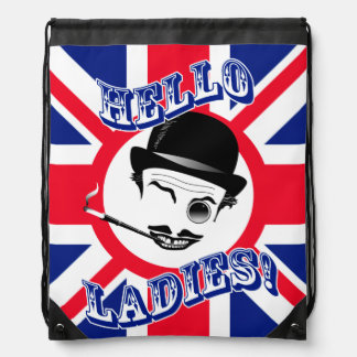 """The Cad's Union Jack """"Hello Ladies!"""" Drawstring Backpack"""