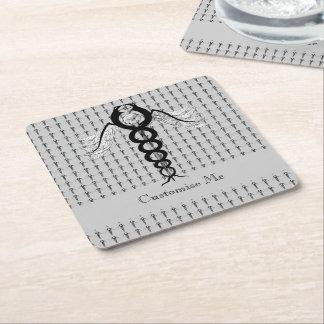 The Caduceus (Black) Square Paper Coaster