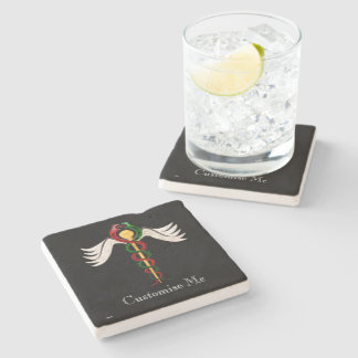 The Caduceus (Full Colour) Stone Beverage Coaster