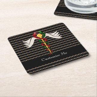 The Caduceus (Full Colour) Square Paper Coaster