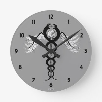 The Caduceus Round Clock