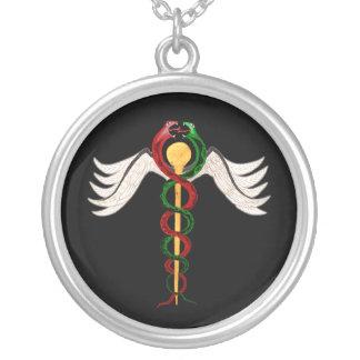 The Caduceus Round Pendant Necklace
