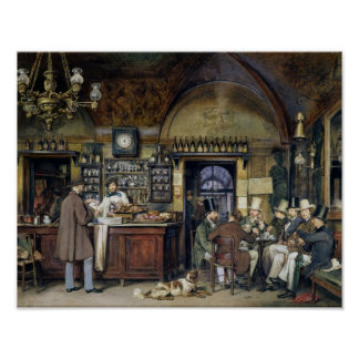 The Cafe in Rome, 1856 Poster