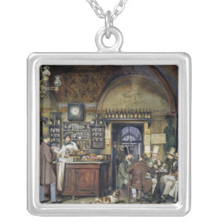 The Cafe in Rome, 1856 Square Pendant Necklace