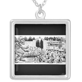 The Calavera of the Trolley Cars c. 1907, Mexico. Square Pendant Necklace