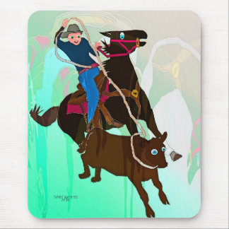 The Calf Roper-Whimsical Horse Collection Mouse Pad