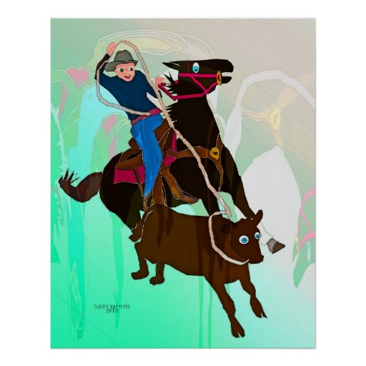 The Calf Roper-Whimsical Horse Collection Poster