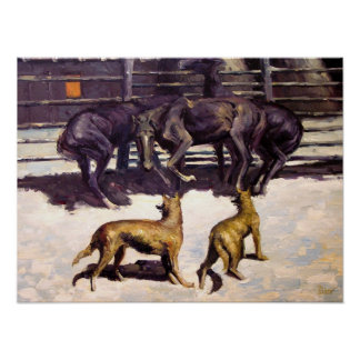 The Call for Help, 1908 Frederic Remington print